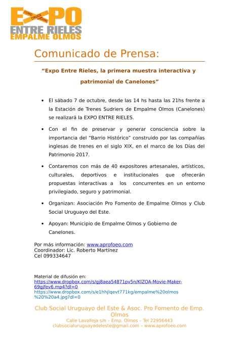 Gacetilla de Prensa Expo Entre Rieles 2017-1